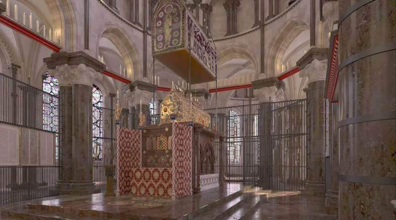 Reconstitution virtuelle de la tombe de Thomas Becket à Canterbury