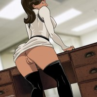 Nice ass and pussy shot of Alana bent over the office desk ready for that throbbing cock to ram her from behind