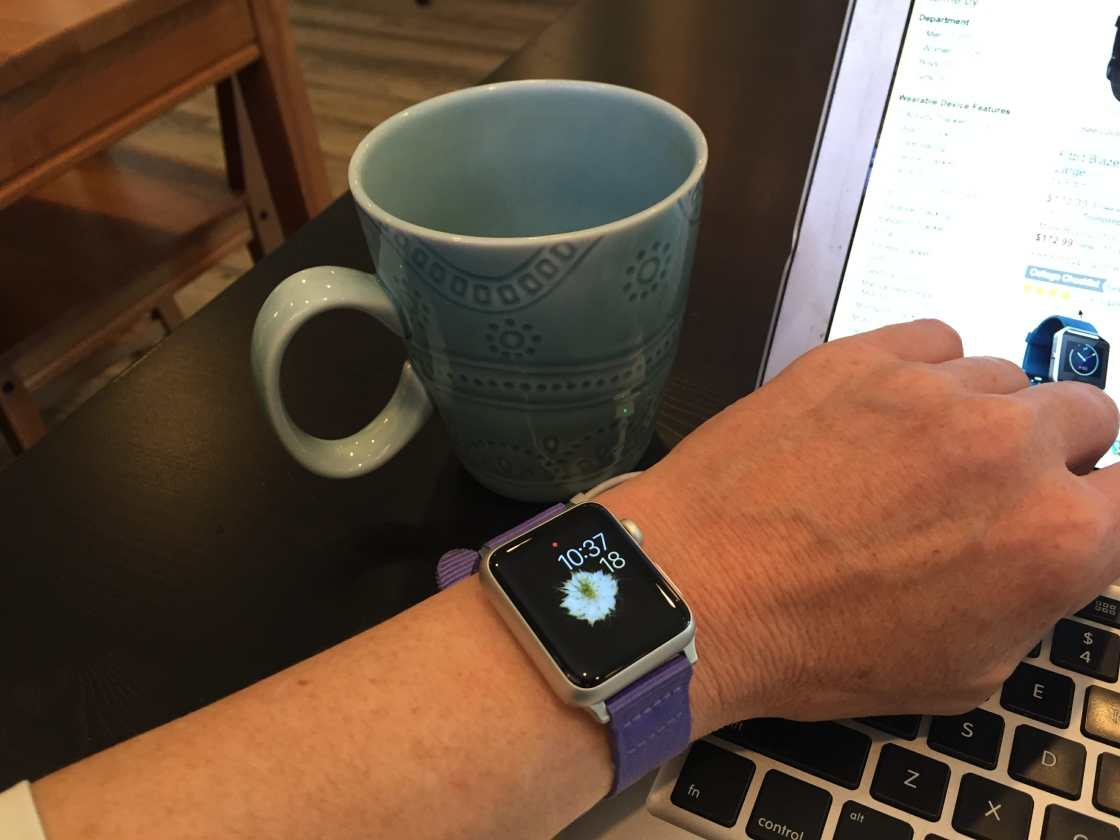 smartwatch at coffee shop