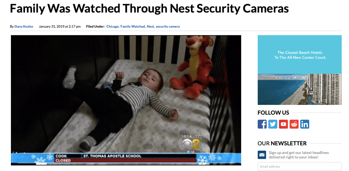 News story shows baby in crib after family's Nest camera hacked