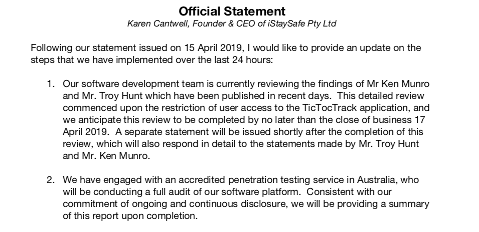 TicTocTrack's statement on April 16 after kids' watch security problems revealed