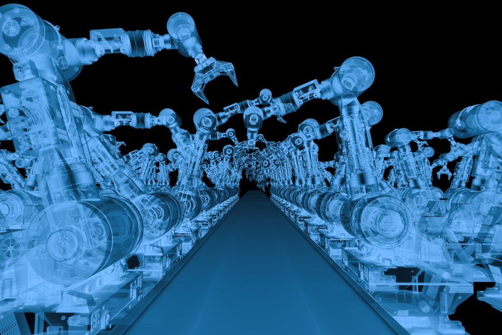 A simulated X-ray scan of robotic arms representing the Shodan scan of connected devices.