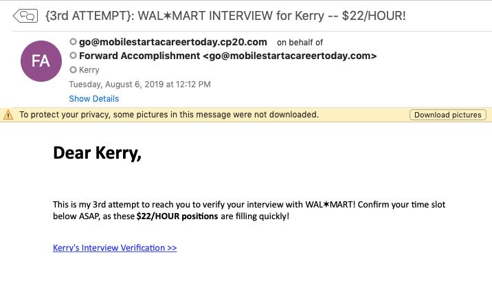 Walmart job spam