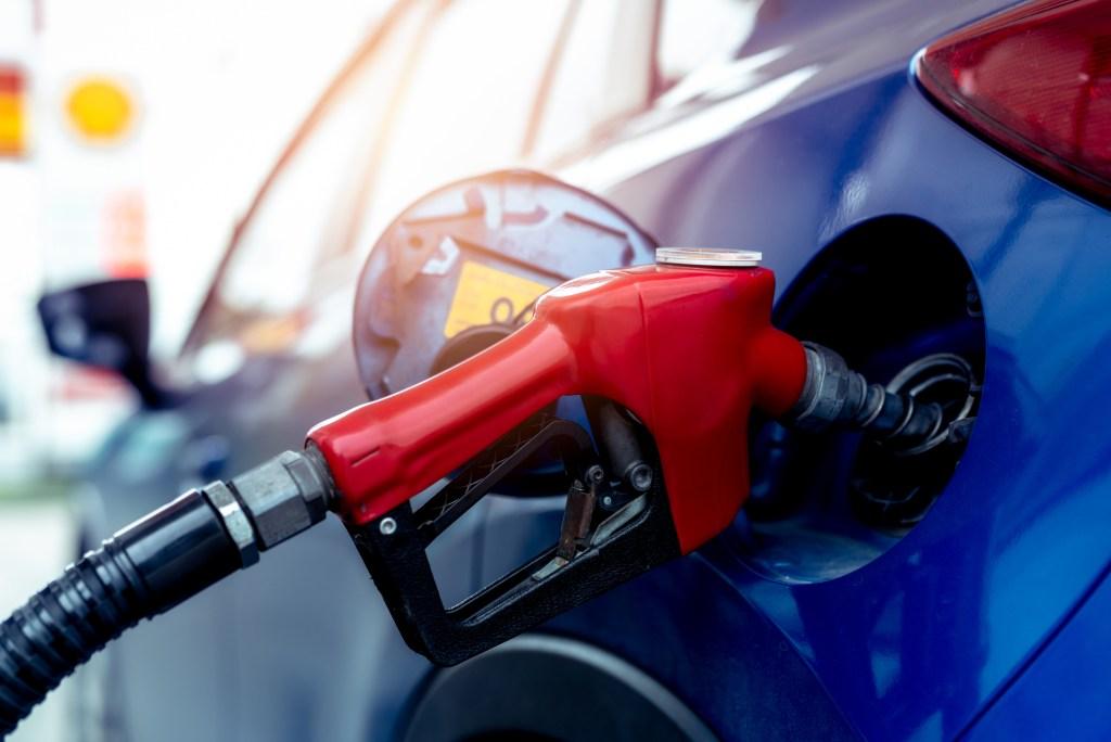 gas pump hose in car
