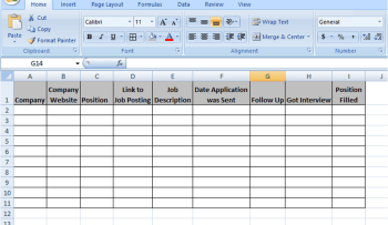 Example of an application spreadsheet.