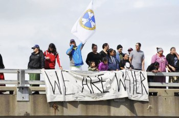 Water protesters rallying on over pass August 21, 2016