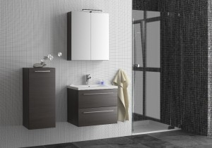 Fusion Seville furniture in Black Cortina Oak. Side unit - single door, wall mounted, 350 x 800 x 275mm.  600 unit - 2 drawer unit with basin, wall mounted, 590 x 500 x 445mm. Mirrored Cabinet with Light - double door cabinet, from 600 x 700 x 140mm