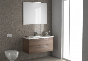 Fusion Seville Furniture in Pacific Walnut. 1000 Unit – 2 Drawer unit with basin, wall-mounted. 990 x 500 x 445mm. Mirror – with single light, 1000 x 800).                                                                                                                                                                        Available in: Pacific Walnut, Grey Cortina Oak, Gloss White, Black Cortina Oak