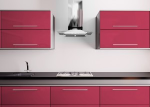 Orange kitchen with sink,gas cooktop and hood 3d