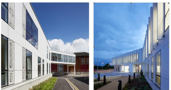 The Corian® façade at the new NGS MacMillan Unit for The Chesterfield Royal Hospital features laser cut artwork and offers a subtle translucency and lustre in the Glacier White colour choice. All photography: Copyright Allan Crow