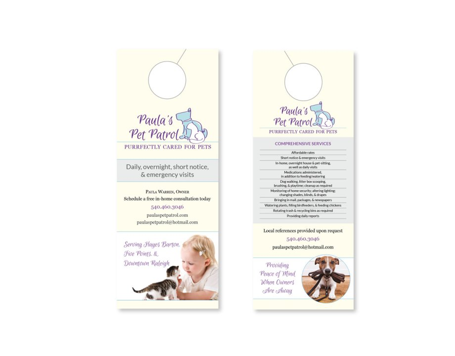 Raleigh Graphic Design Firm Sample door hangers for small business