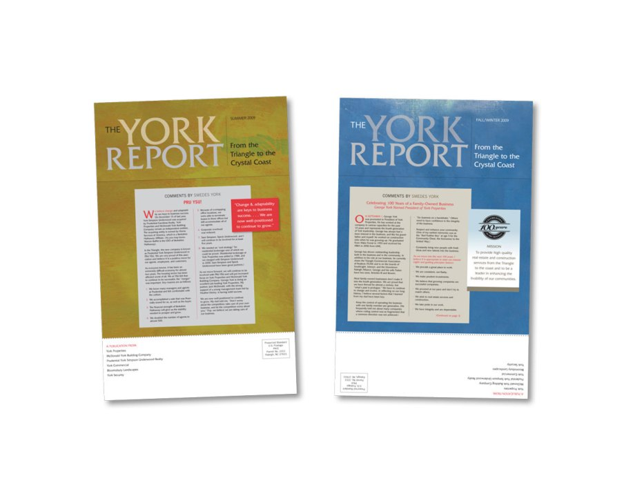 Oversized newsletters for the York Companies.
