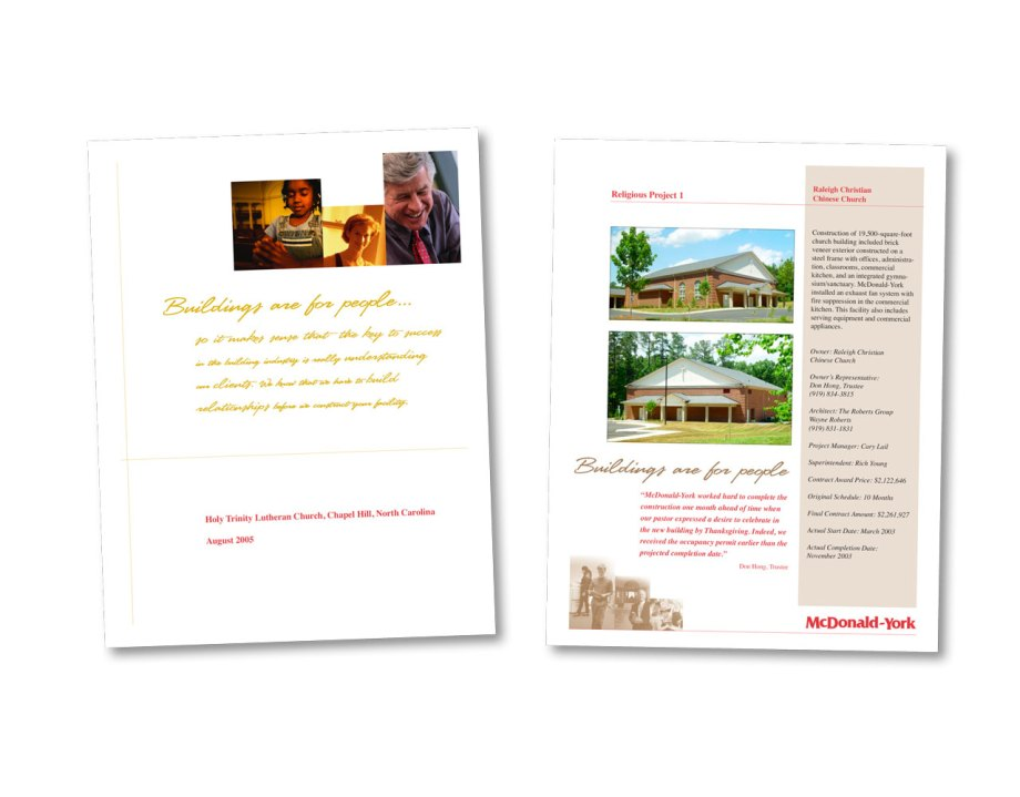 Graphic Design portfolio piece preprinted shell for the McDonald York Proposals
