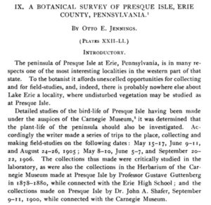 A Botanical Survey of Presque Isle Erie County Pennsylvania by Otto E Jennings - Cover Image
