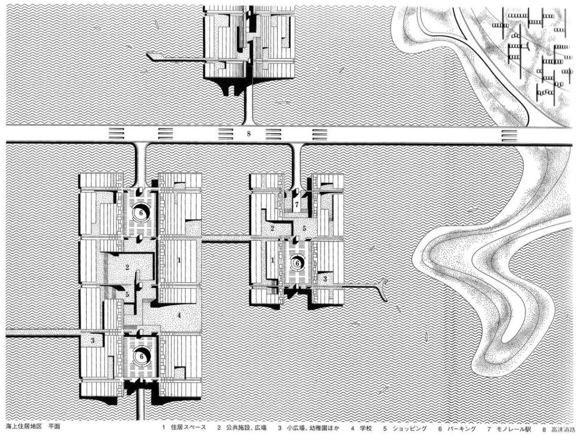 Floor Plan of structures | Kenzo Tange