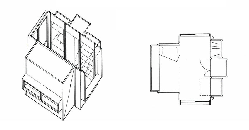 Axonometric view of the bedroom
