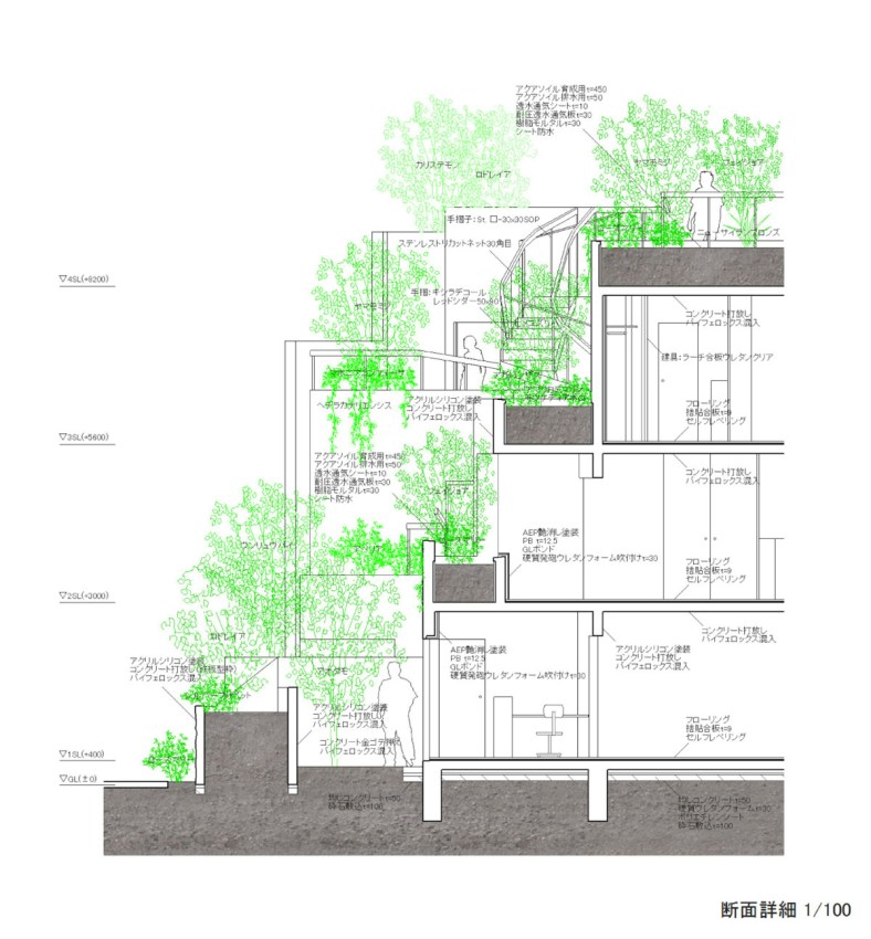 Section of the Apartments Collective Housing in Tokyo / Akihisa Hirata