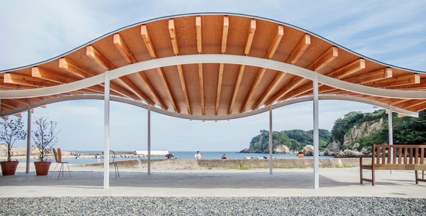 Wood Structure details - Home for All Shelter in Tsukihama by SANAA