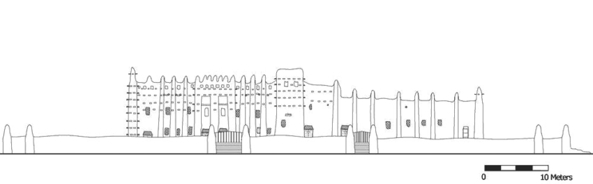 Elevation of the The Great Mosque of Djenné