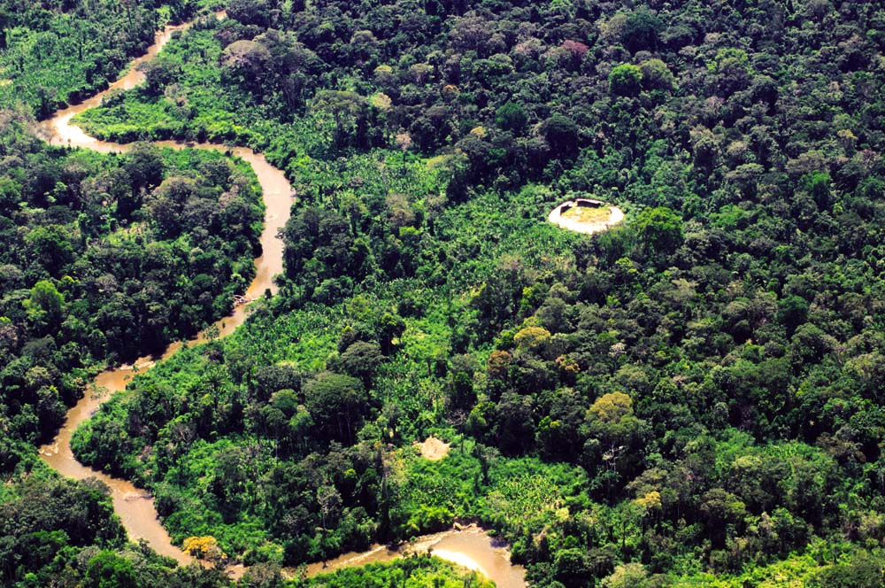 Aerial View: The Shabonos: Circular Communal Dwellings of the Yanomami Tribes in Venezuela