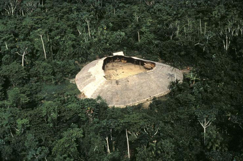 Yanomami communal shabono in the Amazonas