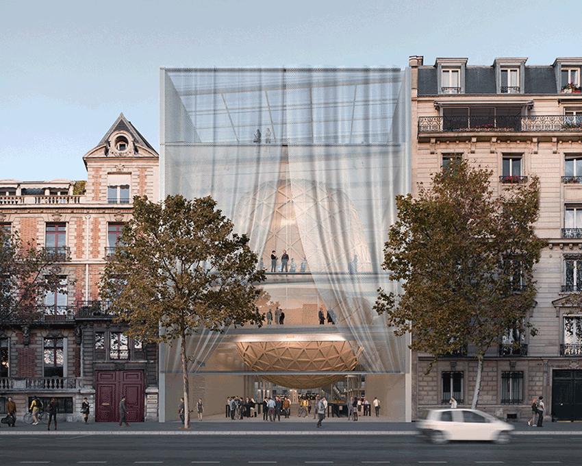 Parimien, Concert Venue and Food Hall in Réinventer Paris / Shigeru Ban