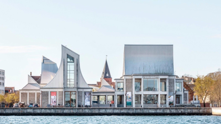 Utzon Museum in Aalborg from waterfront