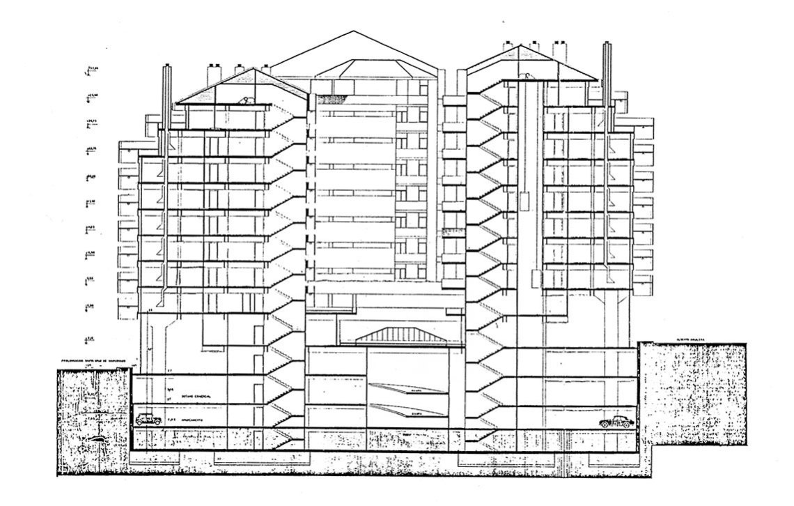 Section plan of the apartments in Madrid