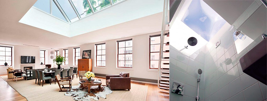 Wonderful-Living-Room-Design-with-Exciting-Glass-Ceiling-Skylight-and-Contemporary-Leather-Chairs-and-Exciting-Open-Floor-Plan-Floating-Staircase-Ideas