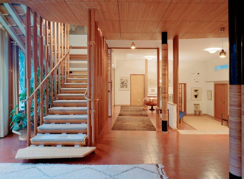 Interior wood stair of Villa Mairea by Alvar Aalto