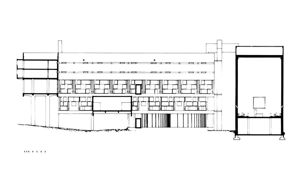 Section La Tourette by Le Corbusier