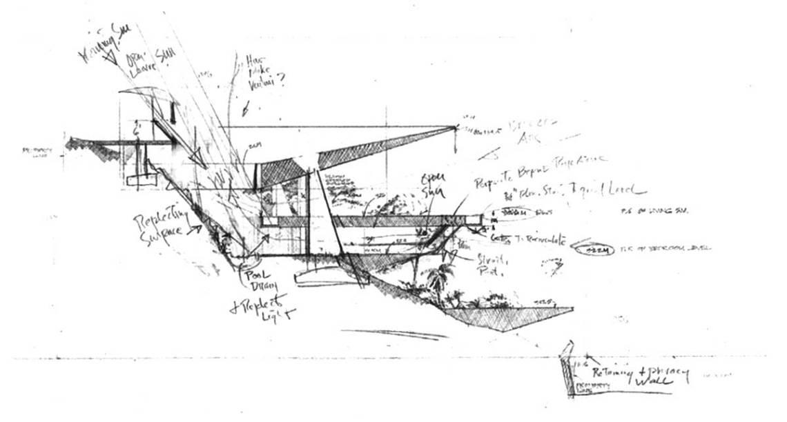Arango Marbrisa House by John Lautner Section Plan