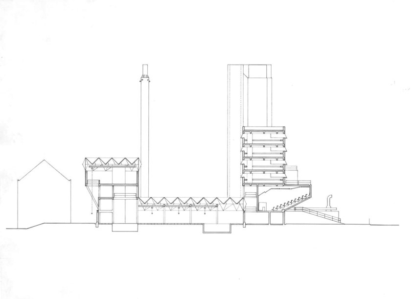 Section Plan of the Engineering Building in Leicester by James Stirling & James Gowan