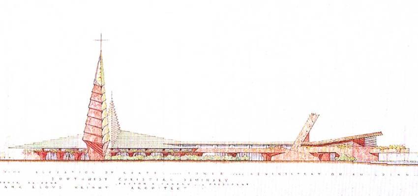 Elevation of the Phoenix church by Frank Lloyd Wright