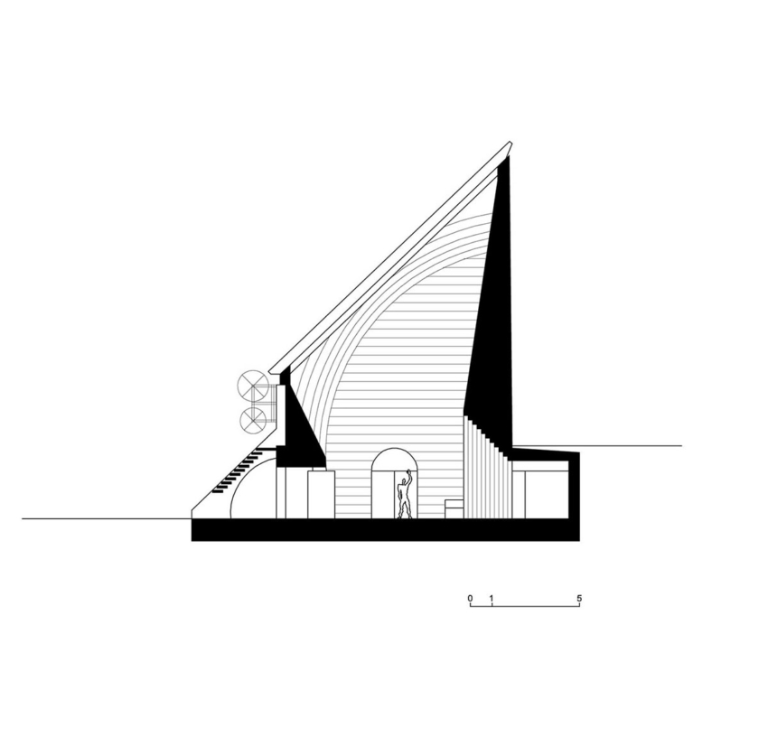 Section of the San Giovanni Battista Church sketch by Mario Botta