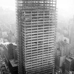 Construction photograph Seagram Building in New york by Mies Van Der Rohe