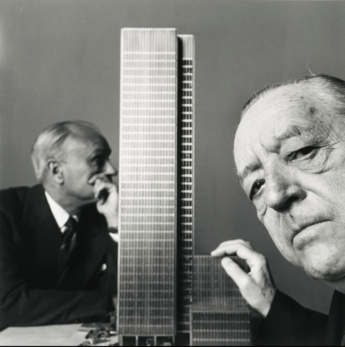 Model of the building and Mies Van Der Rohe