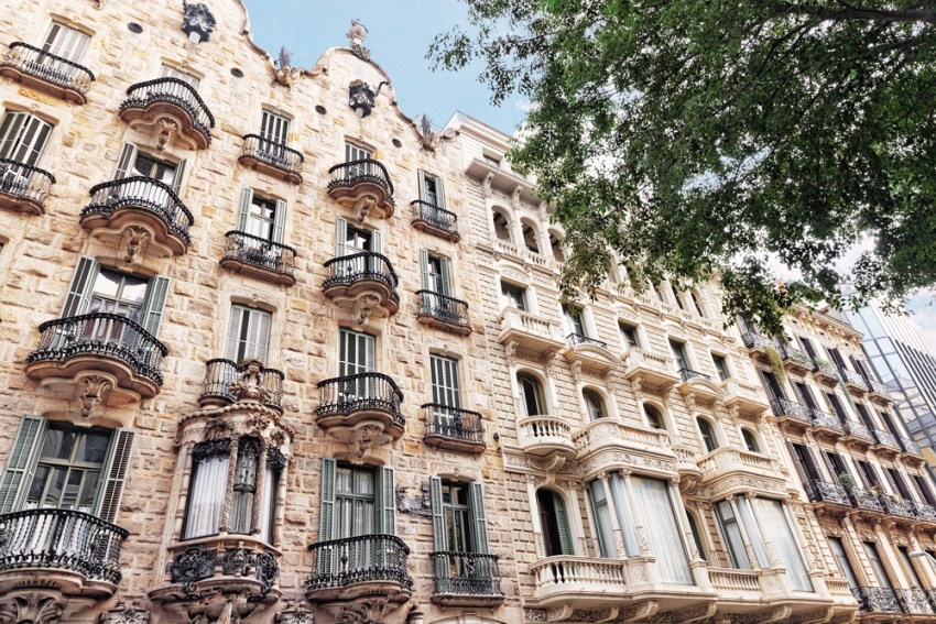 Facade of Calvet House in Barcelona by Antonio Gaudi