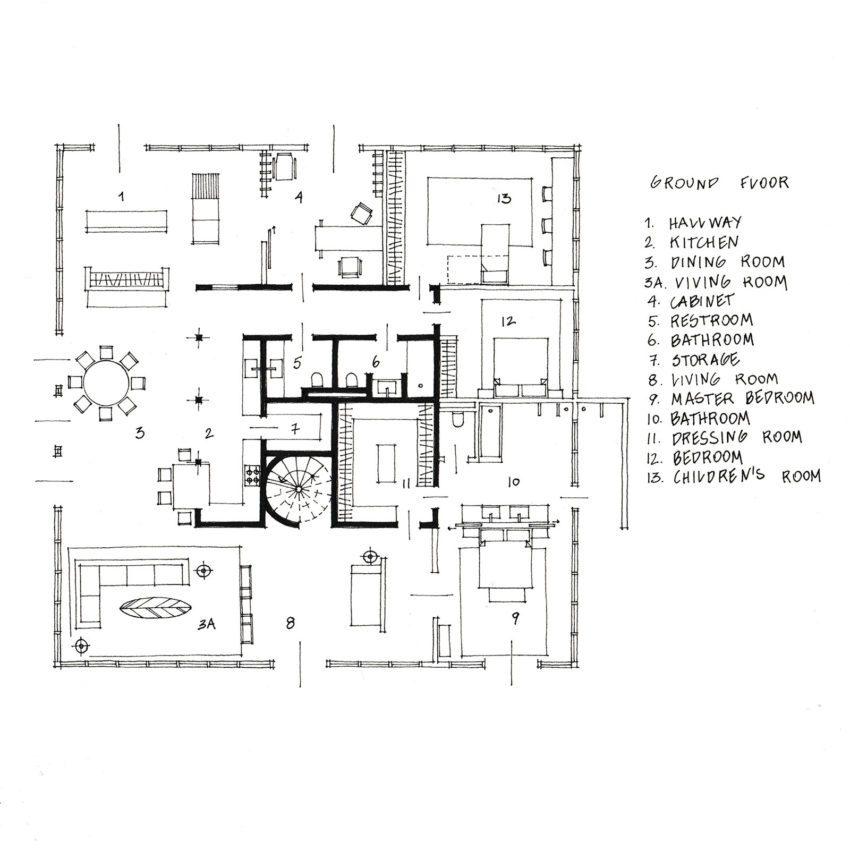 Ground Floor Plan of Casa Raposa
