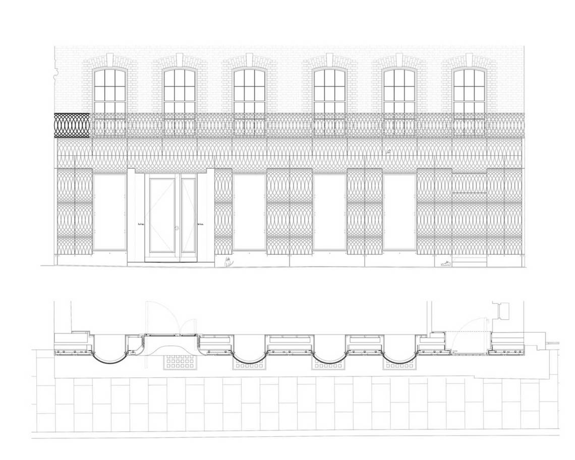Elevation Plans Paul Smith Retail Shop in London / 6a architects