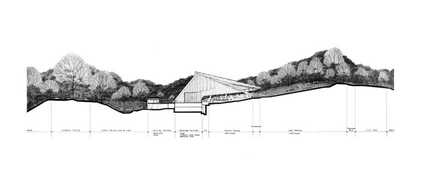 Section Plan of the Blossom Music Center in Cuyahoga Valley / Peter van Dijk