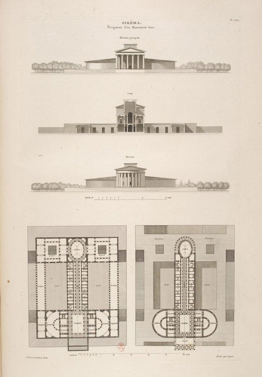 Plans of the Oikema House of Pleasure building by Ledoux