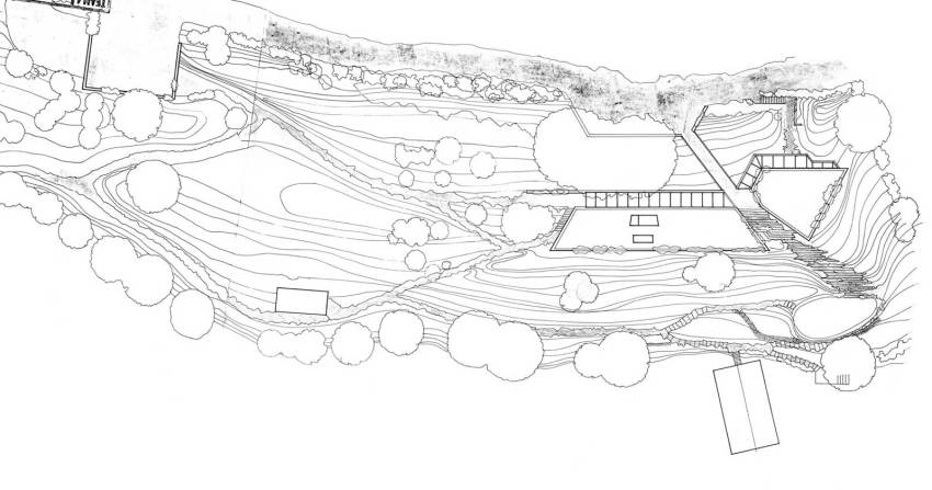 Site Plan of the Retreat: Creek Vean House / Team 4 - - Norman Foster and Richard Rogers