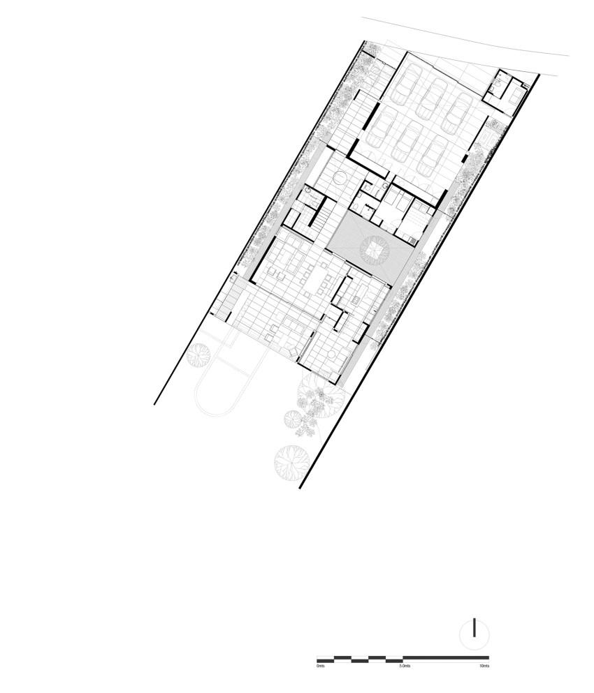 Floor Plan Lluvia House in Mexico / PPAA Pérez Palacios Arquitectos Asociados