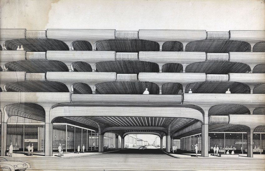 Drawing- Temple Street Parking Garage / Paul Rudolph