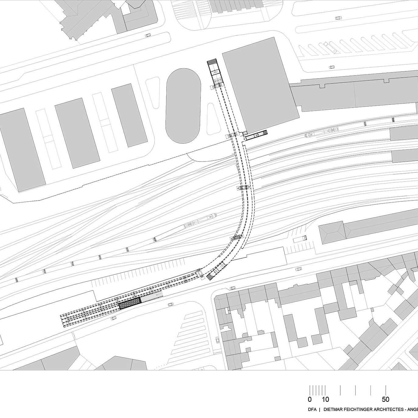 Floor Plan - Footbridge at Angers Saint-Laud TGV Train Station / Dietmar Feichtinger Architectes (DFA)