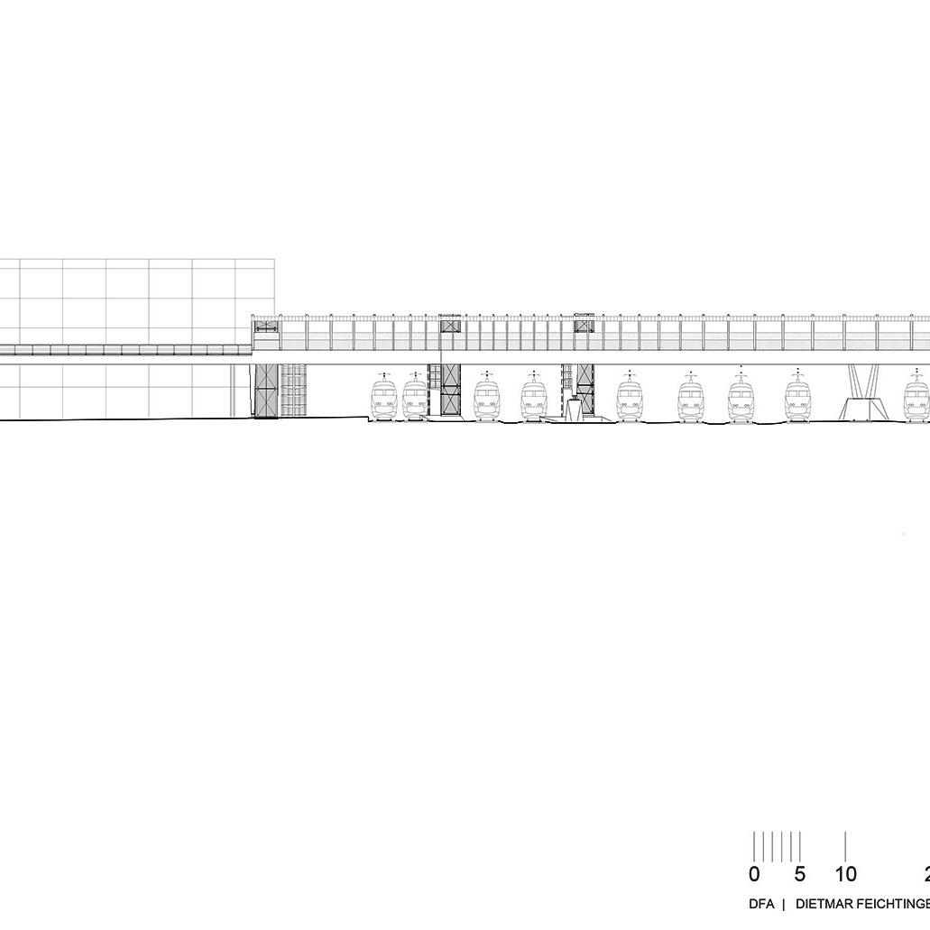 Elevation - Footbridge at Angers Saint-Laud TGV Train Station / Dietmar Feichtinger Architectes (DFA)