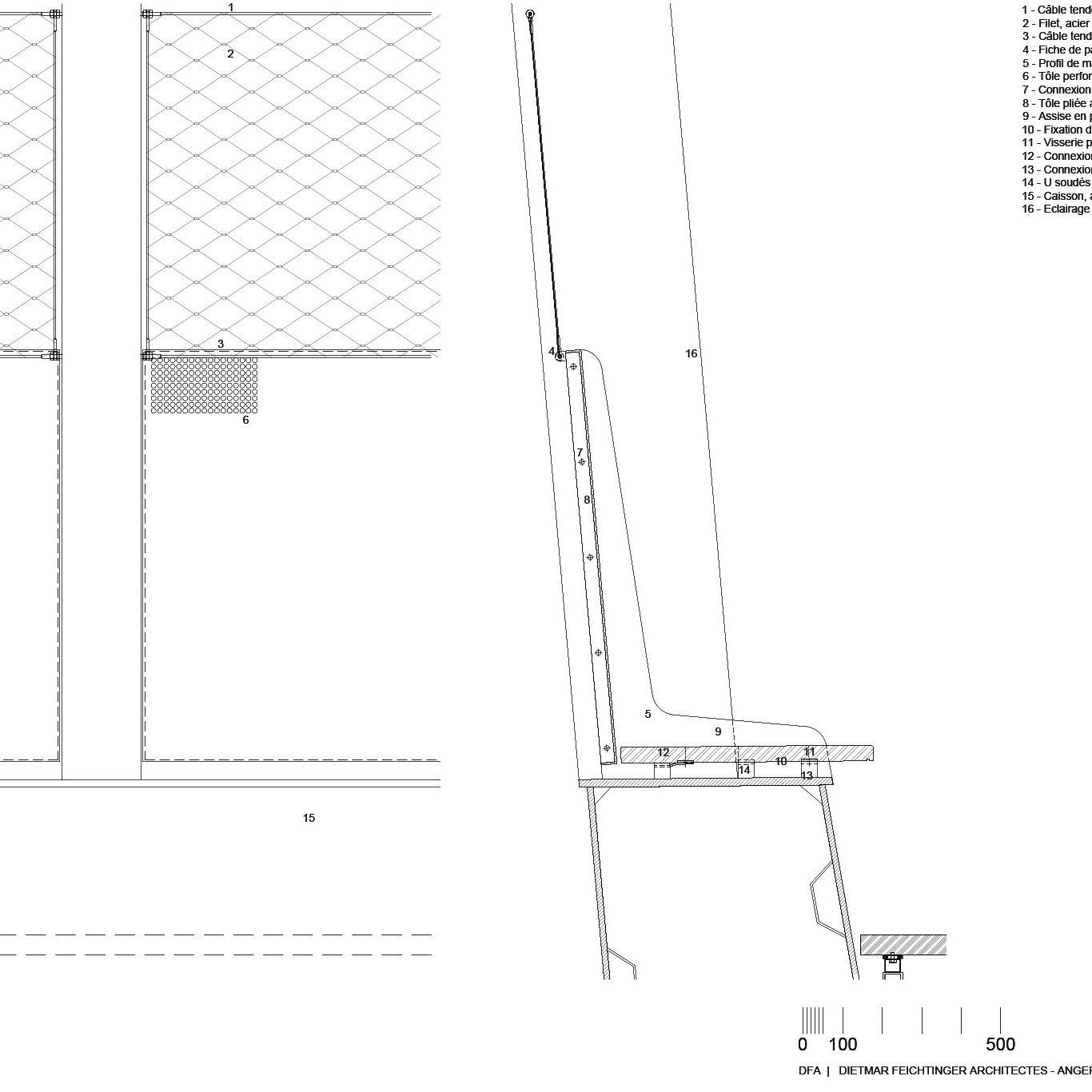 Bench detail - Footbridge at Angers Saint-Laud TGV Train Station / Dietmar Feichtinger Architectes (DFA)