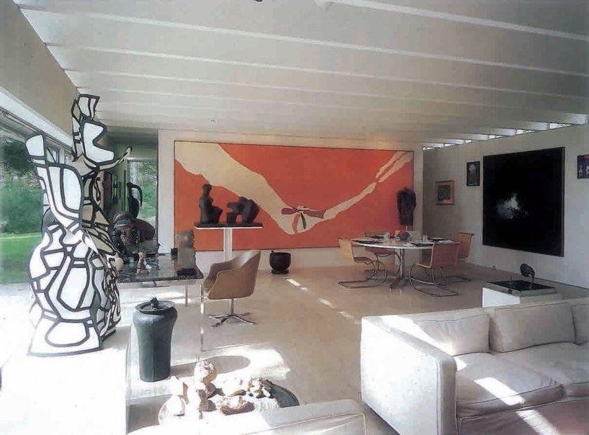 Travertine House Interior by Gordon Bunshaft
