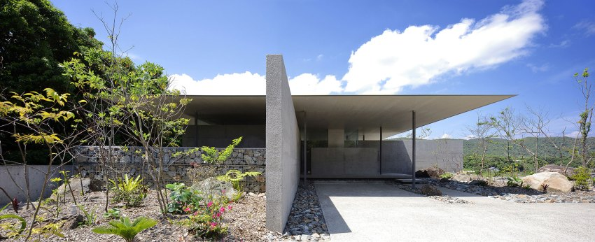 Exterior Concrete Wall and facade of the House for Parents Residence byMasakatsu Matsuyama